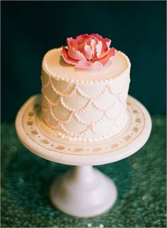scalloped cake for a mermaid bridal shower