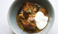 Nigel Slater's aubergine curry recipe - this was nice and cheap. Silky.  We had it with raita, coriander and mixed pickle.