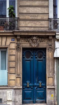 Paris navy blue door art print for your walls. Click thru now to see this in my Etsy shop.