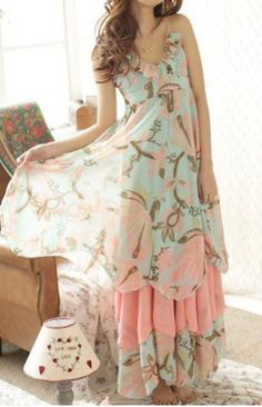 Bohemian Spaghetti Strap Floral Print Multi-Layered Chiffon Women's Dress