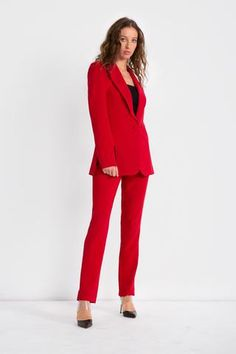 As seen in Vanity Fair! Red wovenstretchcrepe blazer with structured shoulders,notched lapels, side vents, black... Fabric Covered Button, Covered Buttons, Red Weave, Red Blazer, Blazers For Women, Black Mesh, Vanity Fair, Off White, Ready To Wear