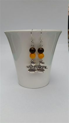 Football Earrings Football Jewellery Colours Brown and Gold just like The Hawks