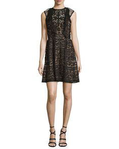 Roswell Geometric Lace Sleeveless Dress
