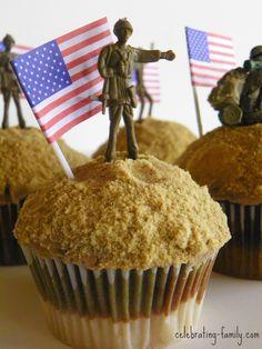 Military Cupcakes, Army Cake, Military Cake, Ocean Cupcakes, Themed Cupcakes, Fun Cupcakes, Theme Cakes, Army Birthday Parties, Army's Birthday