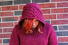 A hooded pullover shaped by Celtic-style cables to be knit in aran-weight yarn. Aran Knitting Patterns, Knitting Designs, Knitting Projects, Crochet Patterns, Ravelry, Aran Weight Yarn, Yarn Inspiration, Cowl Scarf, Knit Picks