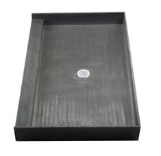 "Tile Redi 3054C-PVC Black 30"" x 54"" Three Wall Alcove Shower Pan with Single Curb and 2"" Center Drain"