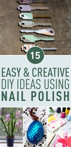 Looking for a crafts inspiration? An everyday item such as nail polish can be used to make beautiful cheap and easy crafts. Check some of the coolest nail polish crafts ideas around. rnrnSource by postris Nail Polish Keys, Nail Polish Crafts, Easy Crafts, Diy And Crafts, Crafts For Kids, Best Nail Art Designs, Creative Nails, Creative Ideas, Craft Wedding