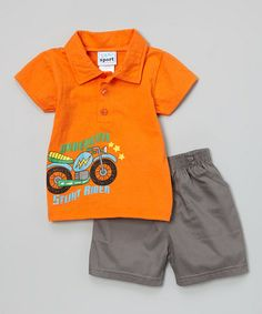 Love this Orange 'Daredevil' Motorcycle Polo & Gray Twill Shorts by Duck Duck Goose on #zulily! #zulilyfinds