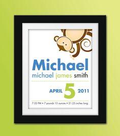 8x10 Custom Monkey Birth Announcement. Personalized Nursery Art.. $22.50, via Etsy.  Would be cute in my nursery colors.