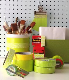 5 Ways to Decorate and Organize your Work Space with Scotch Expressions Tape - this is an amazing site. Home Organisation, Organization, Easy Craft Projects, Craft Ideas, Diy Ideas, Cute Crafts, Diy Crafts, Do It Yourself Inspiration, Scotch Tape