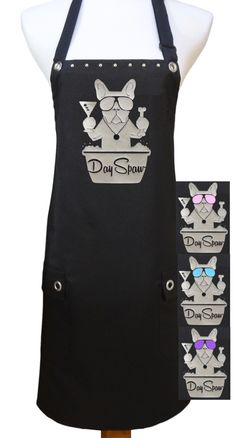 """Day Spaw"" Dog Grooming Apron. Waterproof medium weight polyester. Flap pockets. Adorned with rivets and grommets."