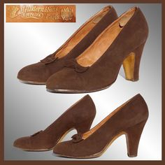Vintage 30s Hellstern & Sons Paris Shoes // early 1930s Pumps Brown from poppysvintageclothing on Ruby Lane