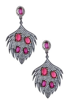 Pave Feather Earrings