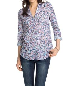 ESPRIT Women's Long Sleeve Blouse -  Multicoloured - Mehrfarbig (CINDER BLUE 406) - 8