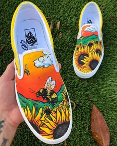 🌻 🐝 ________________________________________ freehand painted Vans Source by shoes