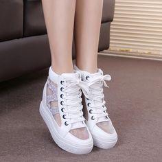 Giày thể thao nữ thiết kế cao gót, vải ren lưới đính đá cá tính