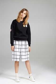 BADGE SWEATER AND CHECKED CULOTTE Dory, Badge, Women Wear, Normcore, Contemporary, Sweaters, Collection, Style, Fashion