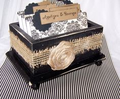 Recipe Box - Dividers and 4 x 6 Recipe Cards - Black and Ivory Damask,  Distressed Wood, Black Recipe Box, Burlap Ribbon, Rosette