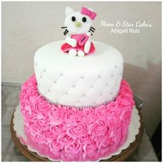 Pastel De Baby Shower/ Crema Y Fondant / Hello Kitty / Niña
