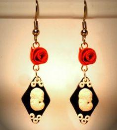 Ohrringe und Ohrstecker im Onlineshop - Verrückte Ohrringe und Schmuck Welt  - Ohrringe Cameo Edelstahl Raute handgemacht aus Sculpey Neuware