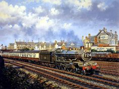 Art Train Journeys : Steam Train Painting by Howard Fogg  - Capital's United Express No.724,  Steam Train Painting by Howard Fogg   30