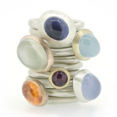 Companion rings are designed to sit perfectly on your finger on there own or stacked up with others. Each gemstone is hand-picked for its unique beauty, then each setting is created to let it shine. By Emily Thatcher Jewellery
