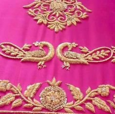 Hand Work Embroidery, Embroidery Suits, Indian Embroidery, Gold Embroidery, Hand Embroidery Designs, Silk Saree Blouse Designs, Bridal Blouse Designs, Blouse Neck Designs, Sleeve Designs