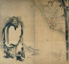 Shoki Ensnaring a Demon in a Spider Web by Soga Shohaku, 18th century, Japan, Edo period. Kimbell Art Museum