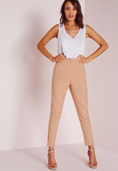 Missguided: Cigarette pants are a classic wardrobe staple and a stylish garm every girl should own. In ageless nude, with front zip and clasp fastening with a tailored leg, pair with a crisp white shirt and barely there heels for a sleek work wear look...