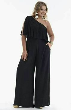 5bad11fed1d7 CREPE RAYON ONE SHOULDER JUMPSUIT black Style No  Crepe Rayon One shoulder  Jumpsuit. This fabulous number has really wide pant legs .