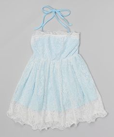 Look what I found on #zulily! Light Blue Lace Halter Dress - Toddler & Girls #zulilyfinds
