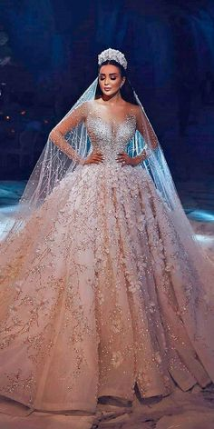 Luxury Champagne Dubai Wedding Dress Ball Gown Appliques Beaded Long Sleeves Round Neck Court Train Bridal Gowns With Veil - Wedding Dresses Princess Wedding Dresses, Dream Wedding Dresses, Bridal Dresses, Wedding Dress Princess, Princess Bridal, Bridesmaid Dresses, Princess Ball Gowns, Extravagant Wedding Dresses, Crystal Wedding Dresses
