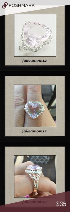 Pink topaz ring Beautiful heart shaped pink topaz Sterling silver ring Jewelry Rings