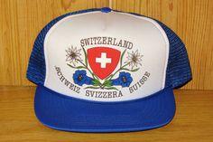 SWITZERLAND Original Vintage 80s Blue Mesh Trucker hat at HatsForward
