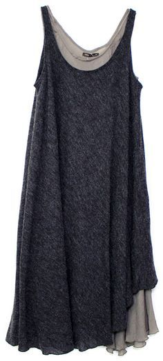 layered charcoal grey tunics