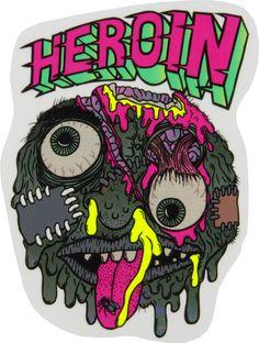 Heroin Skateboards Ball Sticker - FOS | Heroin Skateboard | Brands | Skatehut