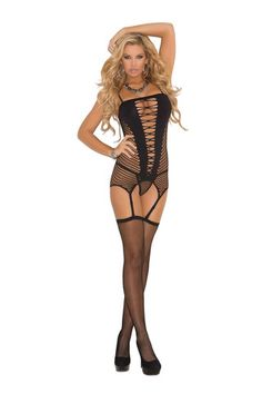 Three piece set Diamond net camisette,  g-string and stockings  Black