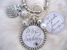 TEACHER GIFT Personalized Bottle cap Pendant  Keychain Necklace, Daycare gift Mother grandmother TEACH love inspire, Teachers Gift Present. $23.50, via Etsy.