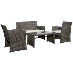 garden 4 chairs and table set grey