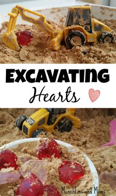 Excavating Hearts Construction Play, because Valentine's Day activities don't need to just be about glitter and lace!