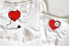 Couple lingerie men boxer and women panties fun by Dariacreative