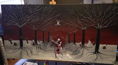 Tribute to A Nightmare before Christmas The Enchanted Path- 24 x 48 X 1.7,  by Michael H. Prosper on Etsy, $575.00