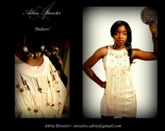 Fashion,Beads, fringe, cocktail dress, model, shakere, Dresses for Haiti, Charity, Adria Streeter, designs, facebook.com/adriastreeterdesigns