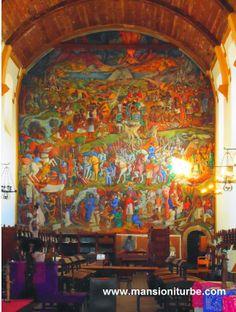 Mural de Juan O' Gorman en Pátzcuaro localizado en la Biblioteca Publica Gertrudis Bocanegra a corta distancia de Hotel Mansión Iturbe