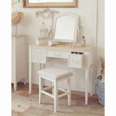 【直送】アンティーク風ドレッサー Interior And Exterior, Office Desk, Dresser, Shabby Chic, Vanity, Mirror, Furniture, Makeup Vanities, Design