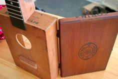 Barry Rust, Great Plains Handmade Instruments - upcycled reused old box to a music instrument yokolely guitar Making Musical Instruments, Homemade Instruments, Guitar Diy, Music Guitar, Ukulele, Cigar Box Projects, Wooden Cigar Boxes, Cigar Box Guitar, Old Boxes
