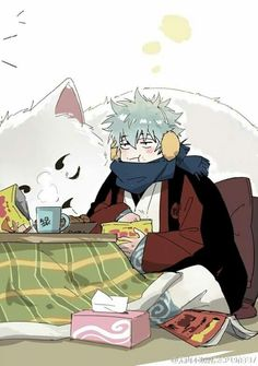 Gintoki and Sadaharu... looks like Emeril & I :)