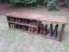 Rustic Entryway Bench - Boot Bench With Shoe Rack And Boot Storage - Cubby Bench - Entryway Shoe Organizer Wood Bench – Rustic Shoe Bench – Entryway Bench – Boot Bench A sturdy and classic rustic styl Boot Storage, Bench With Shoe Storage, Cubby Storage, Storage Benches, Diy Storage, Shoe Rack Bench, Storage Ideas, Closet Storage, Diy Bench