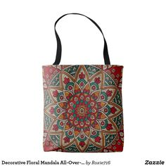 Decorative Floral Mandala All-Over-Print Tote Bag