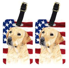 Pair of USA American Flag with Labrador Luggage Tags SC9018BT